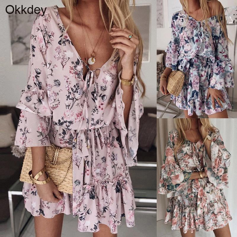 Okkdey Womens Boho Floral Mini Swing Robe Summer Holiday Beach Volant Fourreur Fourreur Sundresse Sexy Mini Robes Vestido Y0118