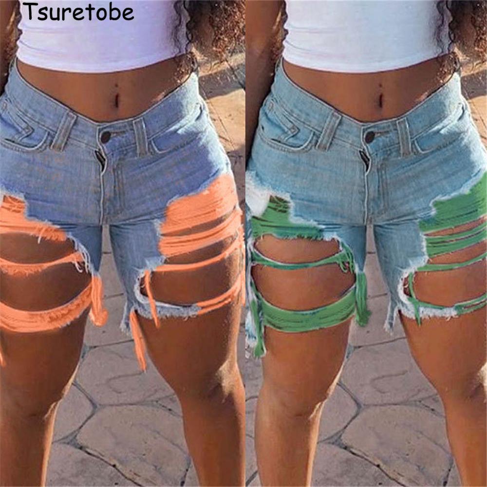 Tsuretobe más el tamaño de Jean Pantalones cortos vaqueros rotos para las mujeres de cintura alta pantalones con agujeros borla pantalones cortos de mezclilla 2020 Summer cortado hacia arriba cortocircuitos A1112
