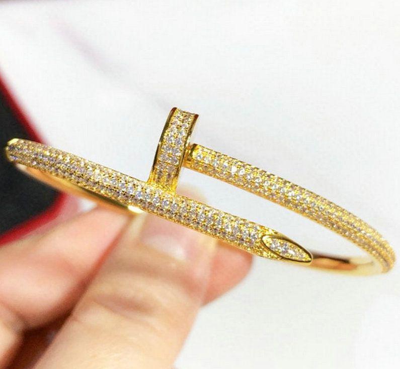 웨딩 팔찌 여성 18K 골드 도금 커프 팔찌 전체 다이아몬드 팔찌 쥬얼리 애인 발렌타인 데이 선물 없음