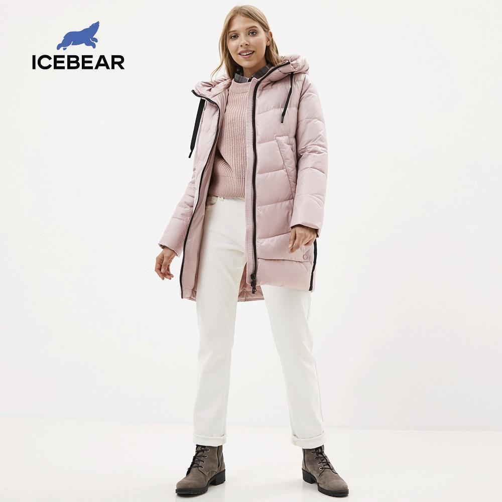 Icebear Nueva capa de invierno con capucha con capucha femenina cálida chaqueta de algodón de invierno Ladies Parka Marca Ropa GWD20282I 210204