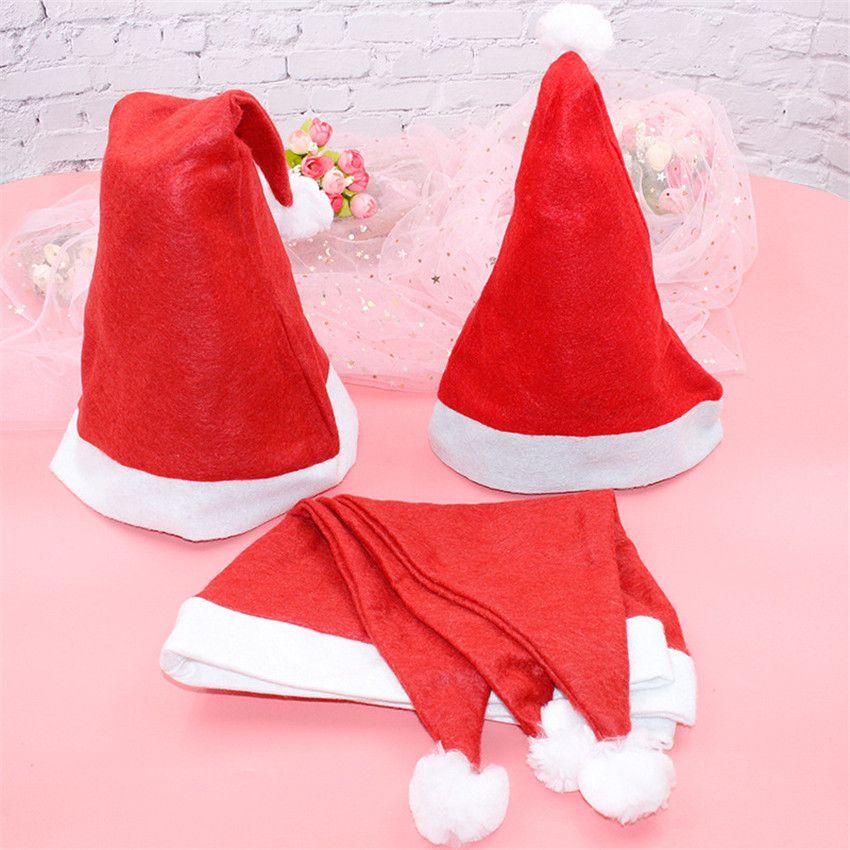 فيديكس! عيد الميلاد قبعات سانتا Clus زينة العادية قبعات الكبار الأطفال قبعات عيد الميلاد الحلي مهرجان حزب غير المنسوجة A12