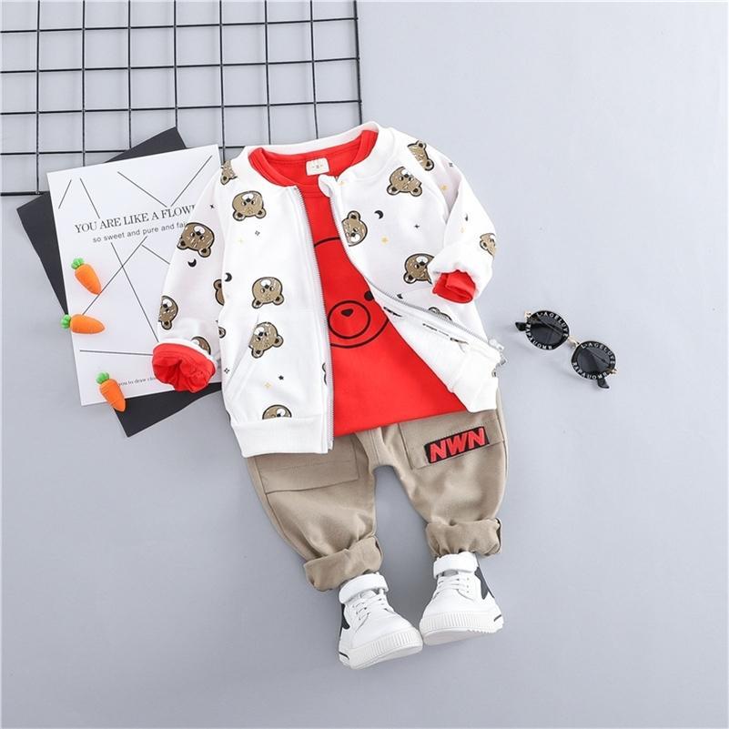 Hylkidhuose Toddler Bebek Giysileri Takım Elbise Bebek Erkek Kız Giyim Setleri Mont T Gömlek Pantolon Çocuk Çocuk Rahat Coat LJ200916