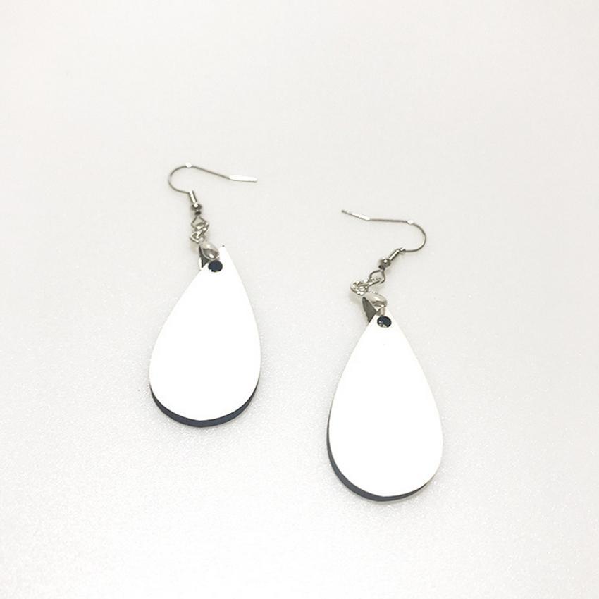 ¡CALIENTE! Pendientes de sublimación DIY Forma de agua en blanco Pendientes blancos en blanco MDF Trinkets creativos de las mujeres Decoración de la moda de dos lados A13