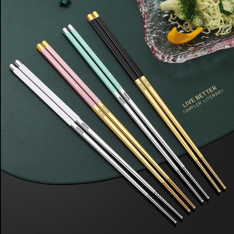 304 Pauzinhos de Aço Inoxidável Flatware 24cm Casa Suprimentos Novo Candy Color NonsLip Pauzinhos Home Tableware Hotel Dinnerware 115 K2