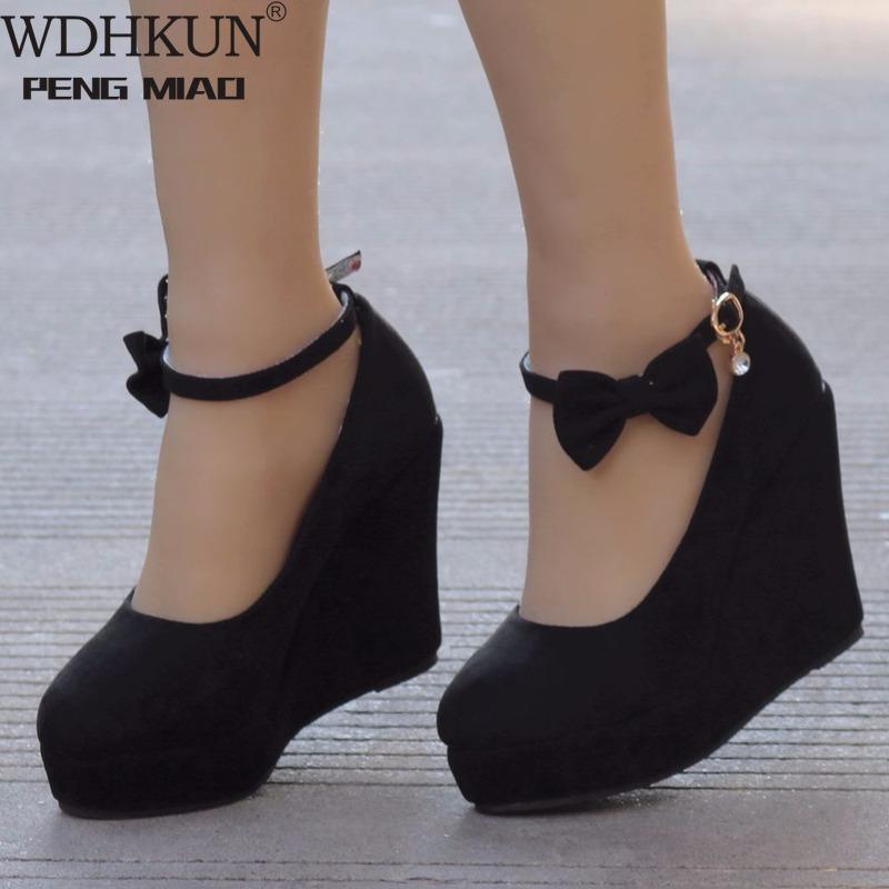 Women High Heels Shoes Fashion Buckle Wedges Ladies Platform Buckle Bowtie Pumps For Woman Plus Size Wedding Shoes