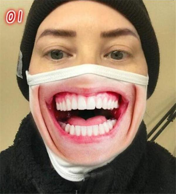 Мультфильм рот многоразовые маски 3d смешные печатные пылезащитные ультрафионесистые моющиеся бегущей езды