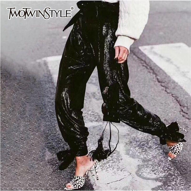 TwotwinStyle тяжелые брюки блестки женские высокие талии нижние повязки брюки для женщин весенние мода улица нового 201103
