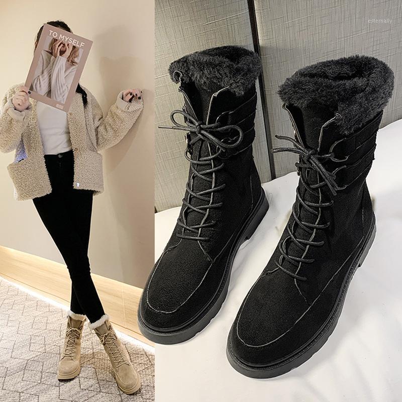 Çizmeler Kadın 2021 Ayakkabı Avustralya Kış Ayakkabı Yuvarlak Ayak Patik Bayanlar Lace Up Düz Topuk Lüks Tasarımcı Kauçuk Orta Balf1