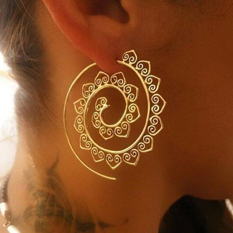 Yeni Moda Hoop Küpeler Antik Altın Spiral Hoop Küpeler İçin Kadınlar Hediyeler Retro Hoops Parti Hediye