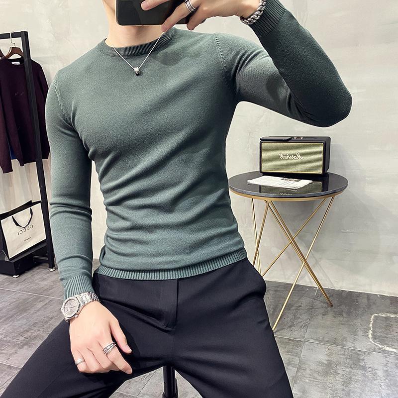 겨울 T 넥 스웨터 남성용 한국 슬림 풀오버 스웨터 비즈니스 캐주얼 티셔츠 단색 컬러 바닥 셔츠