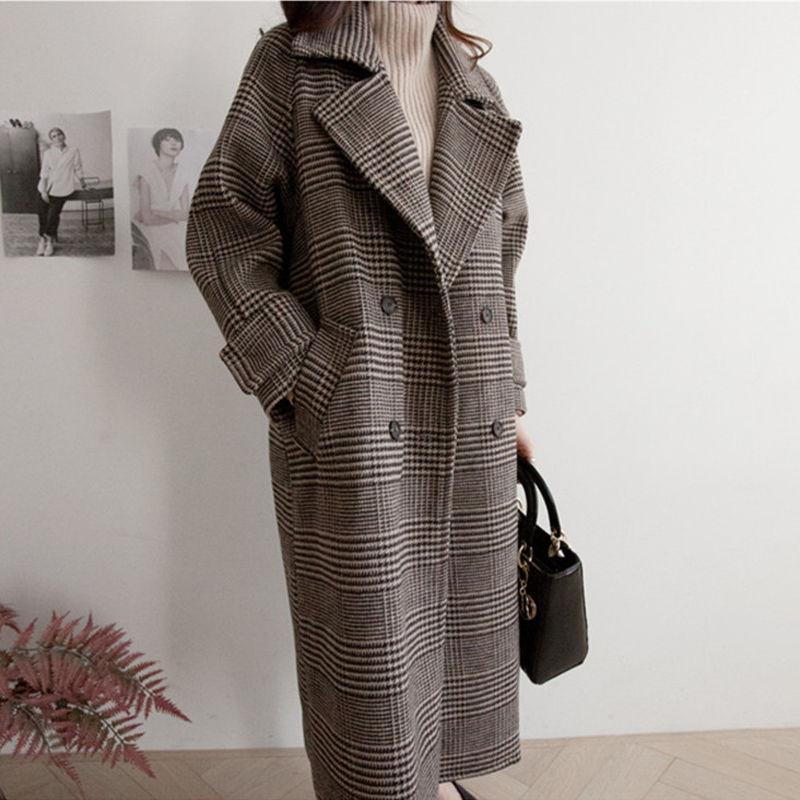 Versión coreana de otoño e invierno de la sección larga del abrigo de lana de lana grande.