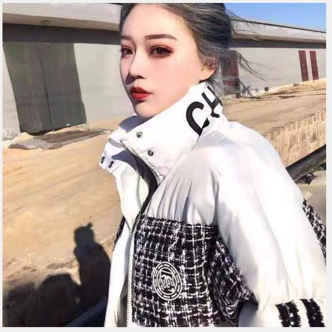 2020 веб-знаменитость зимняя мода свободно пиджак новая толстая теплая черно-белая буква хлопок пальто для женщин бесплатная доставка