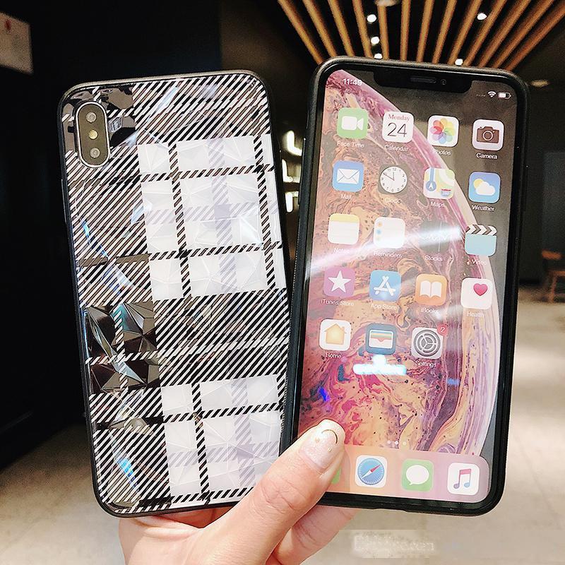 Izgara Desen Telefon Kılıfı Için iphone X Durumda XS MAX XR 7 8 6 6 S Artı Bling 3D Elmas Desen Arka Kapak Coque