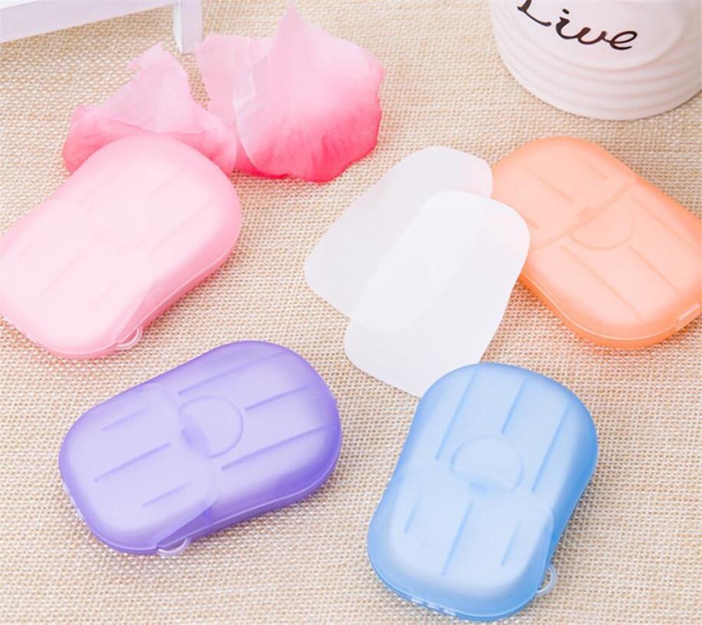20 pz / scatola monouso anti polvere mini da viaggio carta sapone di sapone lavaggio a mano lavaggio da bagno portatile in scatola di sapone in scatola sapone fogli profumati HWC3919