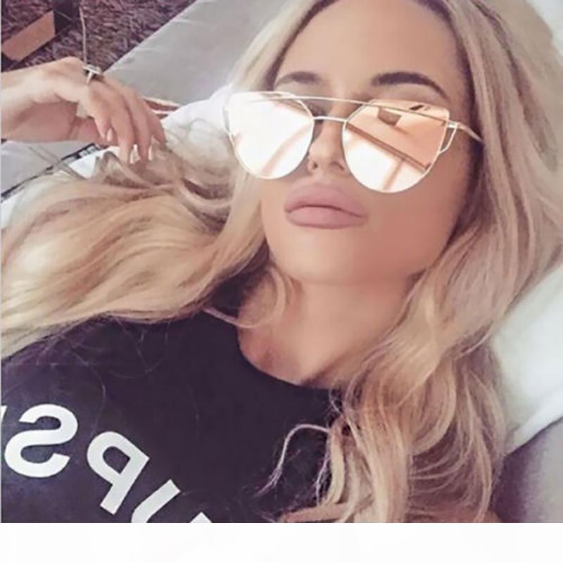 Womens Vintage Cat Eye Sonnenbrille Marke Designer Sonnenbrille Rosa Rose Spiegel Metallrahmen Reflektierende flache Linse Eyewear Oculos