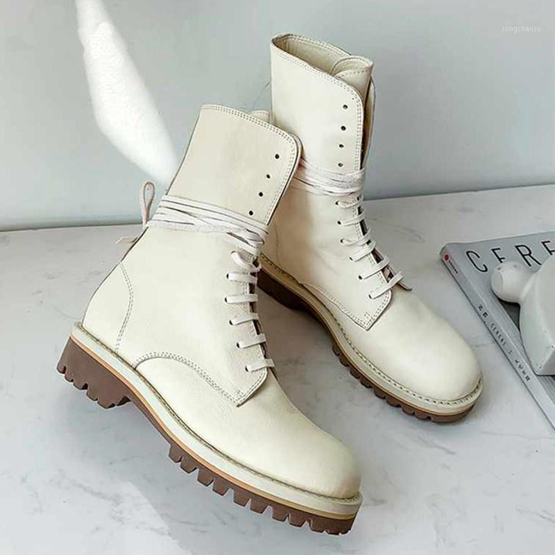 boots women's new winter shoes elegant lace up genuine leather keep warm women neutral mid-calf boots botas mujer1