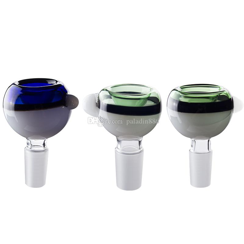 14mm 18mm männliche bunte Glasschüsseln mit Griff farbig Rauchen Bong Bowls Stück für Tabakglas Wasserleitungen Bongs DAB Rigs