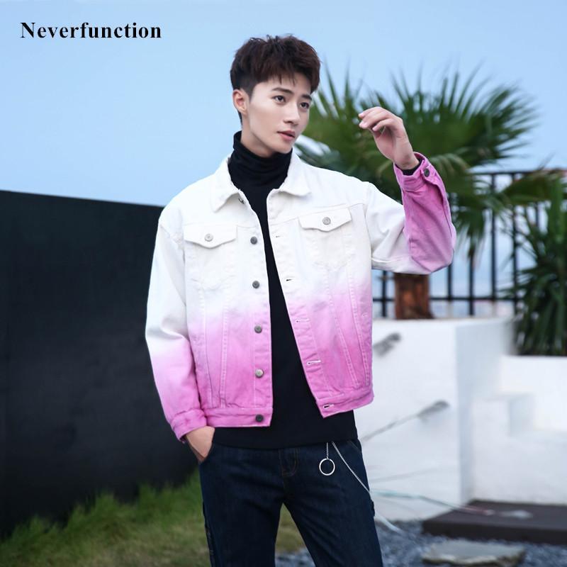NOUVEAU Denim Streetwear manteau Slim Hommes Outerwear Hop Fashion Mâle Vestes Coton Veste Hip Casual Jeans Moto Gradient FHDLO
