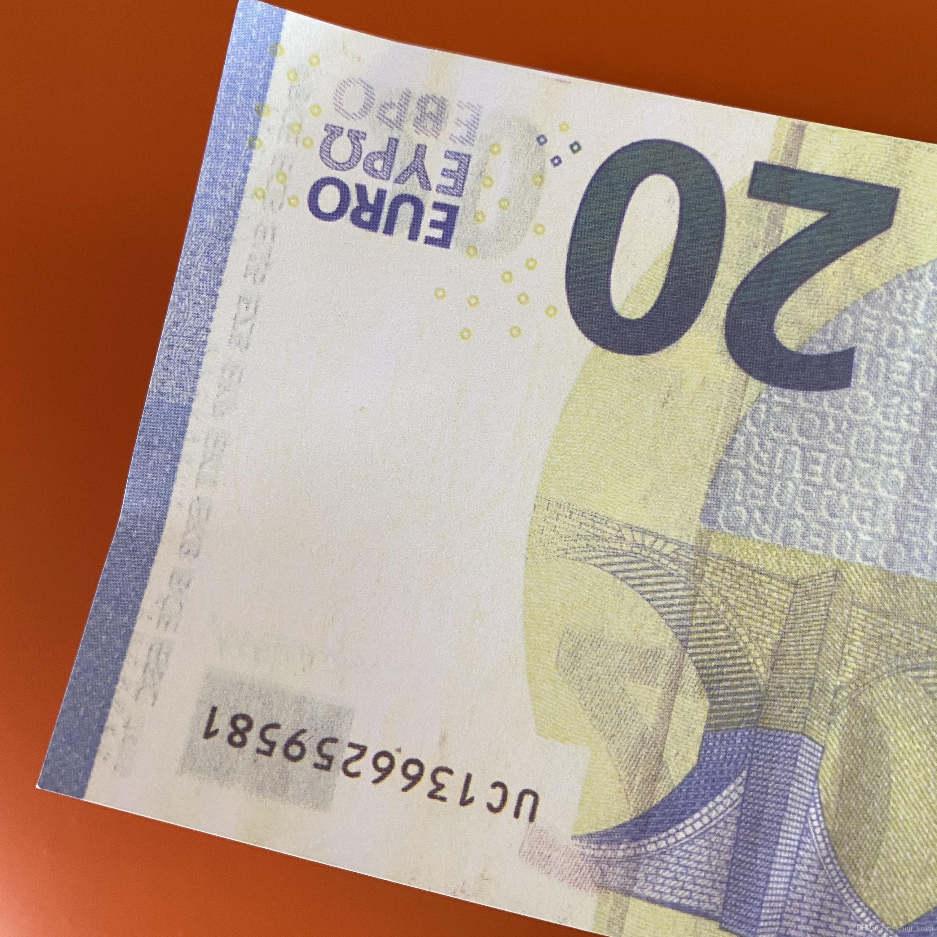Carta 100pcs / pack o banconota Gioco realistico Prop / Euro / Dollaro Mostro dei bambini Soldi per bambini Copia la famiglia Toy191 NDXBW