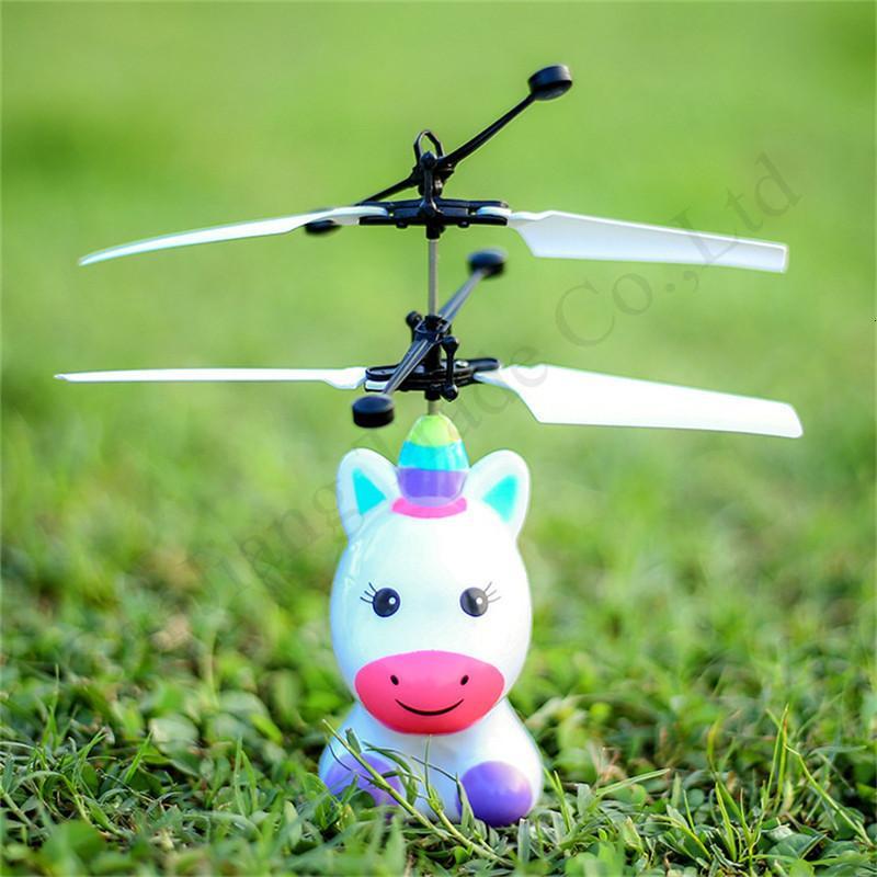 Toys Flying Toys Electronic Hot Unicorn Dinosaur Robot LED Hélicoptère Enfants Infrarouge Induction Commande à distance Dessin animé