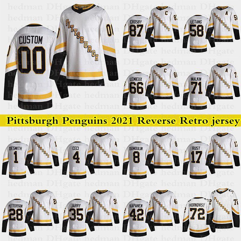 Pittsburgh Penguins 2021 Reverse Retro Jerseys 87 Sidney Crosby 66 Lemieux 71 Malkin 58 Letsang personalizzato Qualsiasi numero Qualunque nome Hockey Jersey