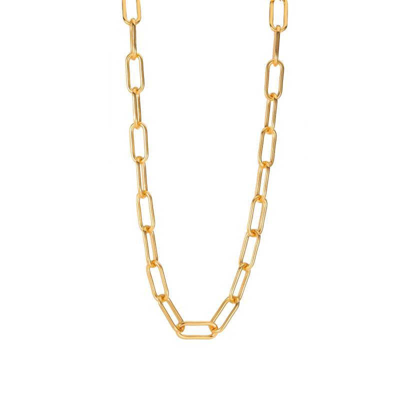 المختنقون تيار مطلية بالذهب رابط سلسلة قلادة مثالية طبقات طويلة مستطيل سلاسل قلادة ورقة مقطع المرأة
