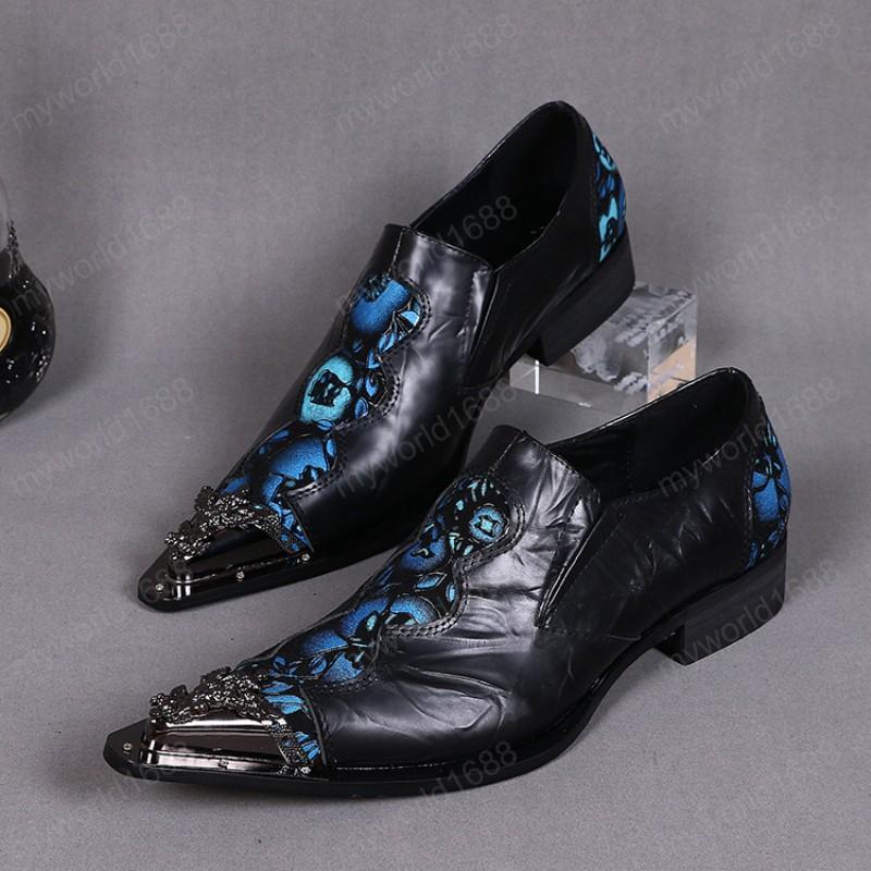 Большой размер мода мужчина металл резные заостренные носки обувь натуральная кожа цветочные мужчины обувь мужская деловая вечеринка обувь