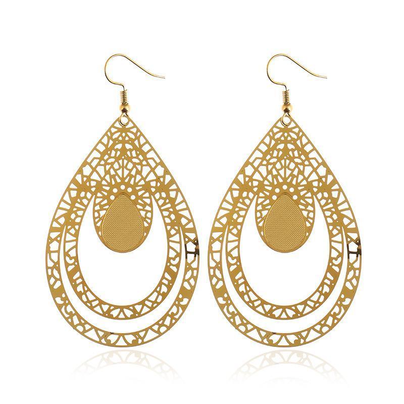 Drop Earrings For Woman Stainless Steel Long Pendants Oval Water Drop Colorful Luxury High Quality Trendy Earrings Gifts JY2521