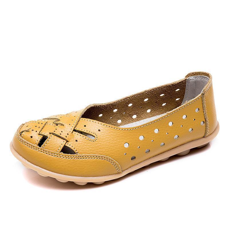 Calçados Verão Plana Genuíno Tamanho Couro Mulher Mocassins Cut-Outs Mocassin Tênis Plus 44Flats Feminino Sapatos Femme 4.5 Mulheres Casual CBFVX