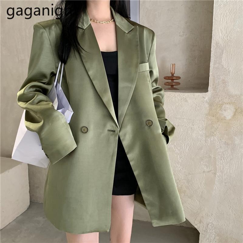 Gaganight moda mulheres verde solta blazer manga longa Única casaco retrô primavera outono casual maxi blazers chic coreano