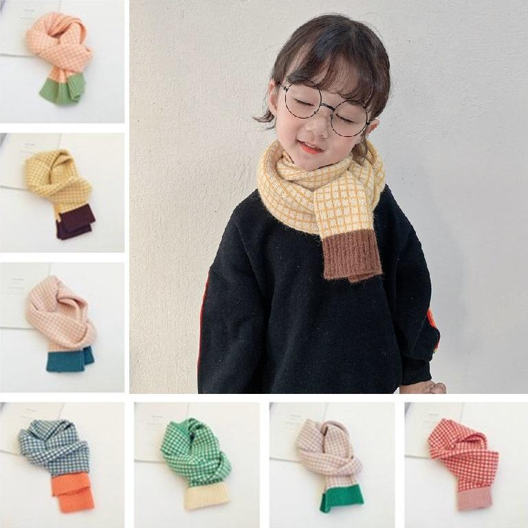 New Small check contrast color children wool children's scarf autumn winter new style boys and girls baby warm scarf