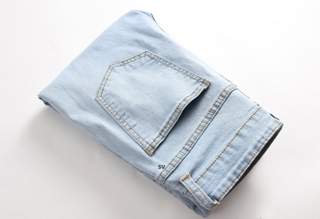 Estate autunno uomini jeans stretch skinny hole retrò lavato casual solido uomini denim jeans vintage slim dritto pantaloni matita m