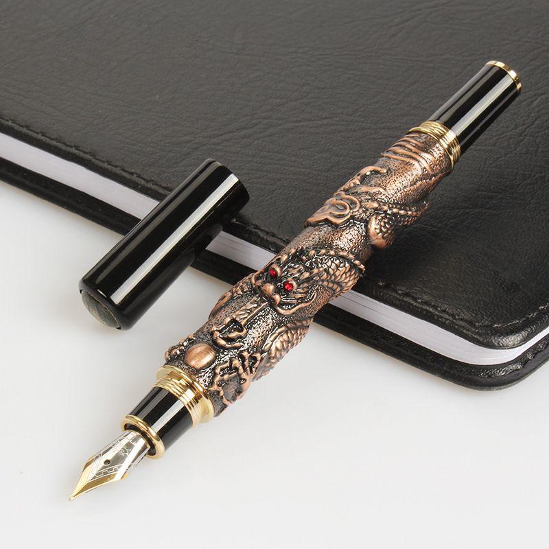 2020 jinhao oriental dragón bolígrafos negocio buena calidad firma pluma verter dragón formado artesanía regalo pluma 1.5mm hermosos bolígrafos de lujo