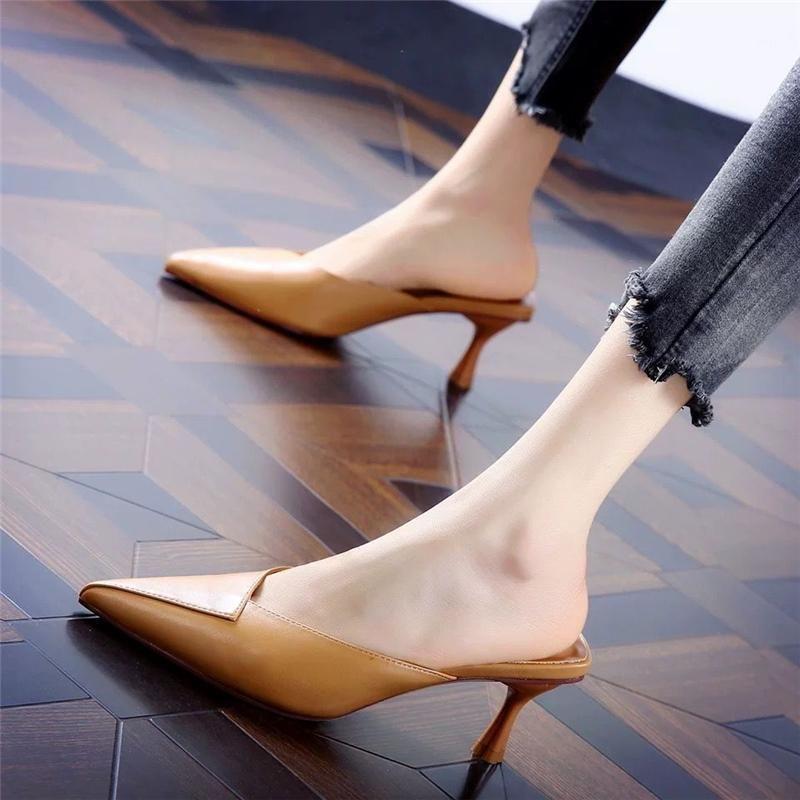 Cresfimix Donne Carino Sweet Brown PU in pelle PU Slip on tacco alto Scarpe da donna Black Comfort Estate Stilotto Sapatos Azuis C57901