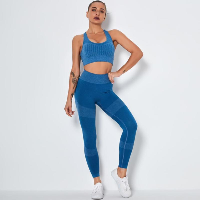 Yoga Outfits 2 Pcs Set Women Seamless Sportswear Gym Clothes Sports Bra+Leggings Running Workout Suits