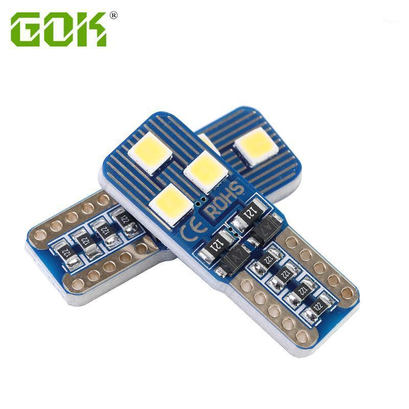 10 unids T10 LED CANBUS 6SMD 3030 LED W5W Bulbs 168 194 Luces de interiores de automóvil Lámpara de señal Lámpara de señal de lectura Luz de Luz Auto 12V1