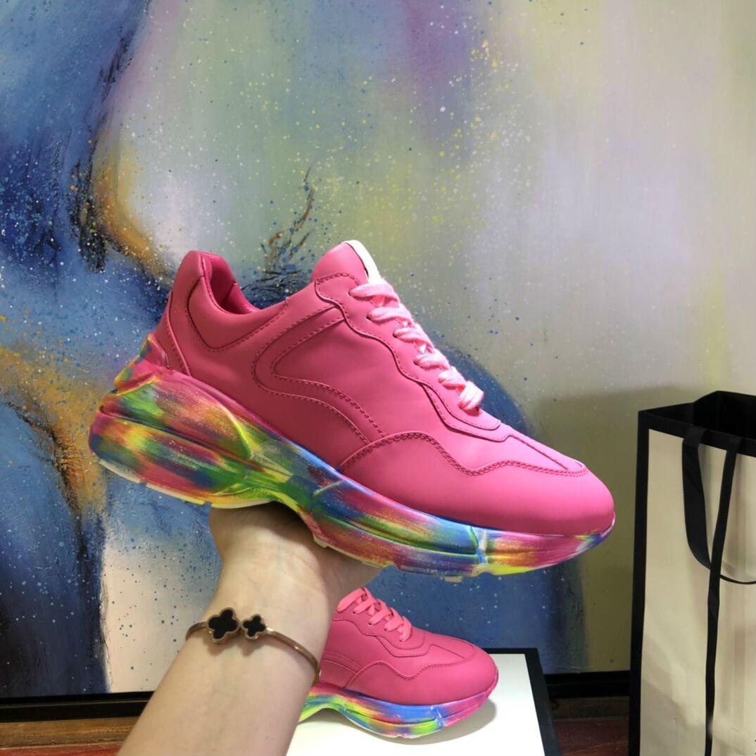 2020 Casal de Luxo Sapatos de Couro Impresso Sapatos Esportivos Casuais Pai Sapatos Vários estilos Salto 5cm tamanho 34-45
