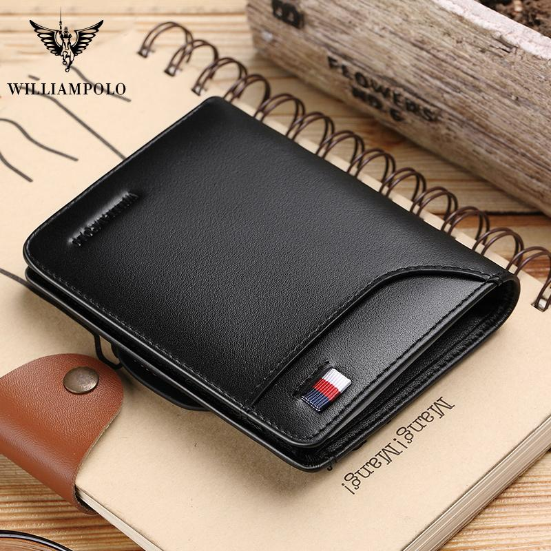 Williampolo Cowhide Mens Leather Credit Holder Purse With Card Coin Design Wallets Small Wallet Men New Fashion Pocket Qgwhl