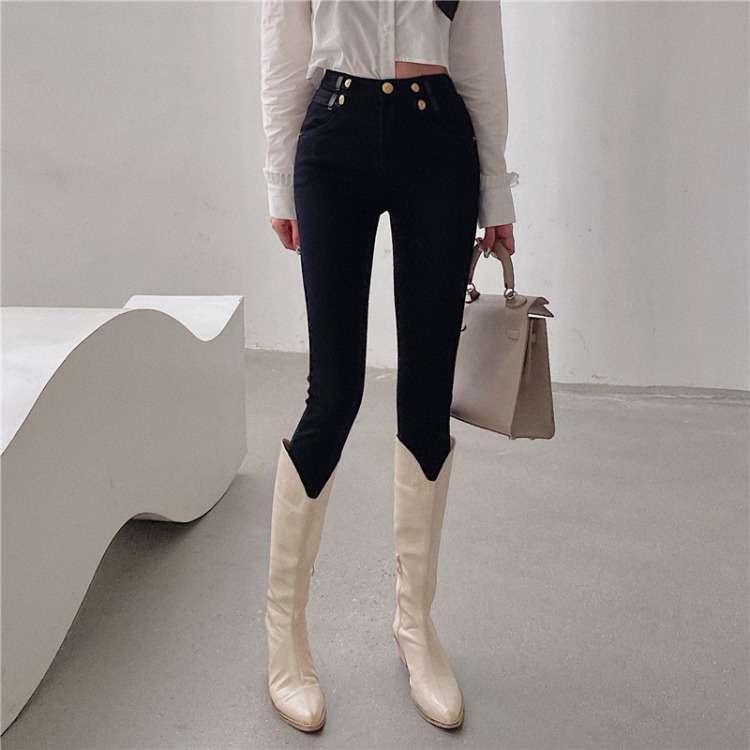 Außenstil Ins Design Sense Hohe Taille Hosen Frauen Mode Vielseitige Fleece Jeans Weiblich 20871