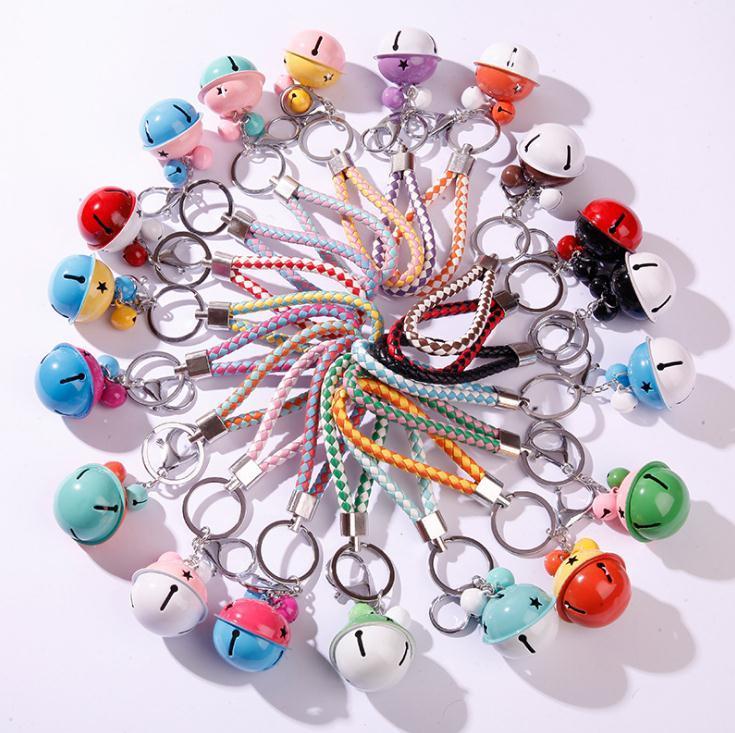 26 ألوان أزياء مزدوجة اللون جرس المفاتيح الجلود مضفر حبل مفتاح سلسلة المنسوجة الحبل سيارة مفتاح سلسلة حامل قلادة ديي الملحقات