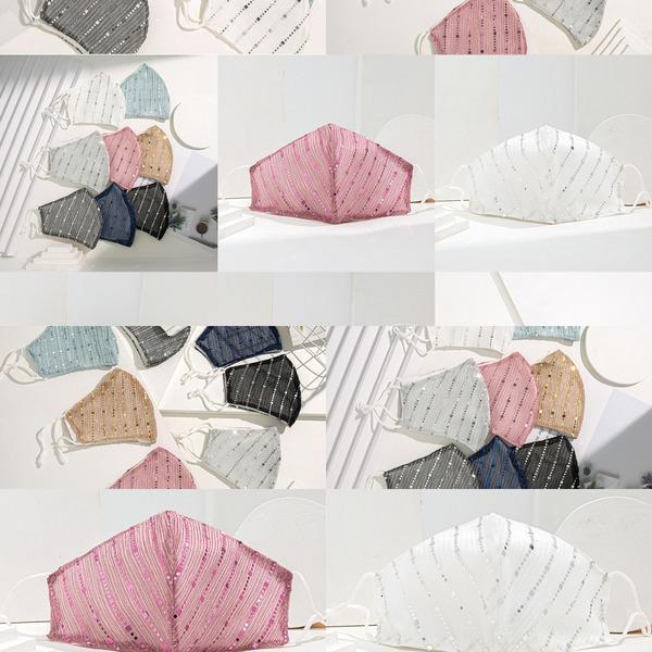 Spring Bling Shipping Paillettes Fashion Estate GRATUITA GRATUITA Anti-polvere Suncreen Outdoor Traspirante Mask Face Lavabile Riutilizzabile Yuvy JFKMU