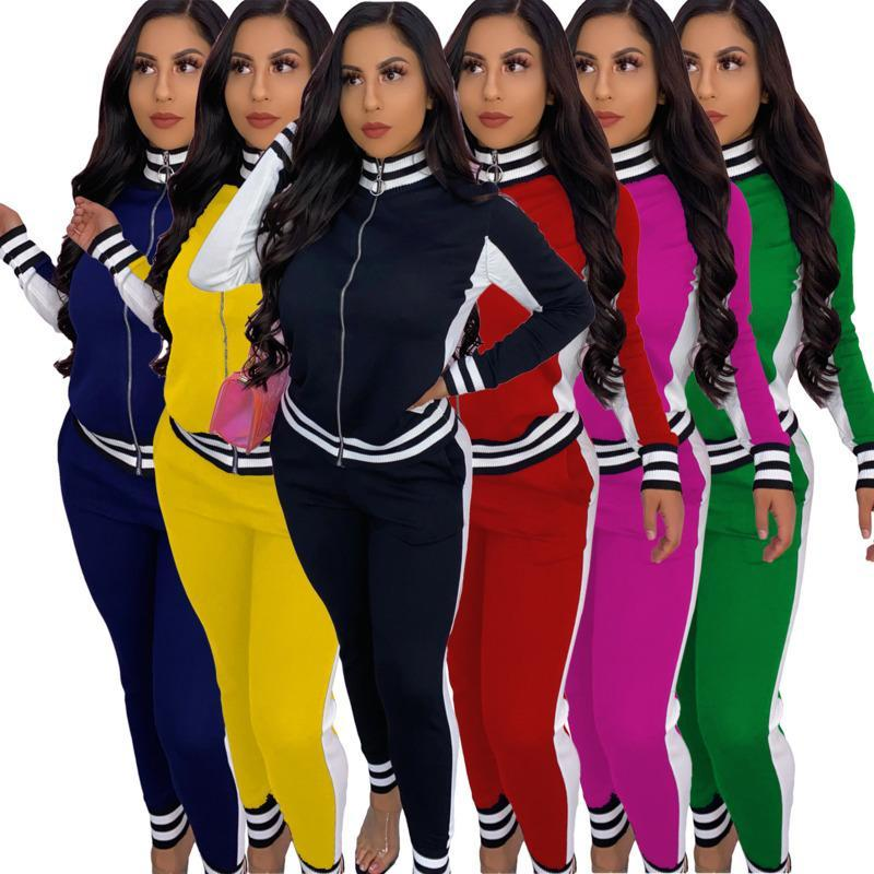 Donne due pezzi Abbigliamento Ribbon Stitching Giacca Giacca Giacca da jogging Abiti cardigan Pantaloni S-2XL Abiti da donna Sportswear invernale