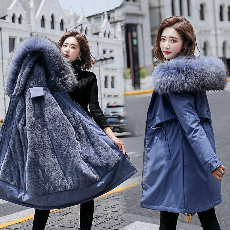 Giacca invernale agnello pelliccia fodera calda parka donne cappotti e giacca plus size 6xl parka mugjer giacca invernale femminile calre down parkas 201126