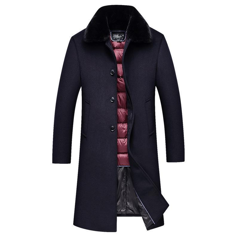 Abrigos de piel de mediana edad Masculino Largo invierno abajo collares de vejiga con un abrigo de lana gruesa papá