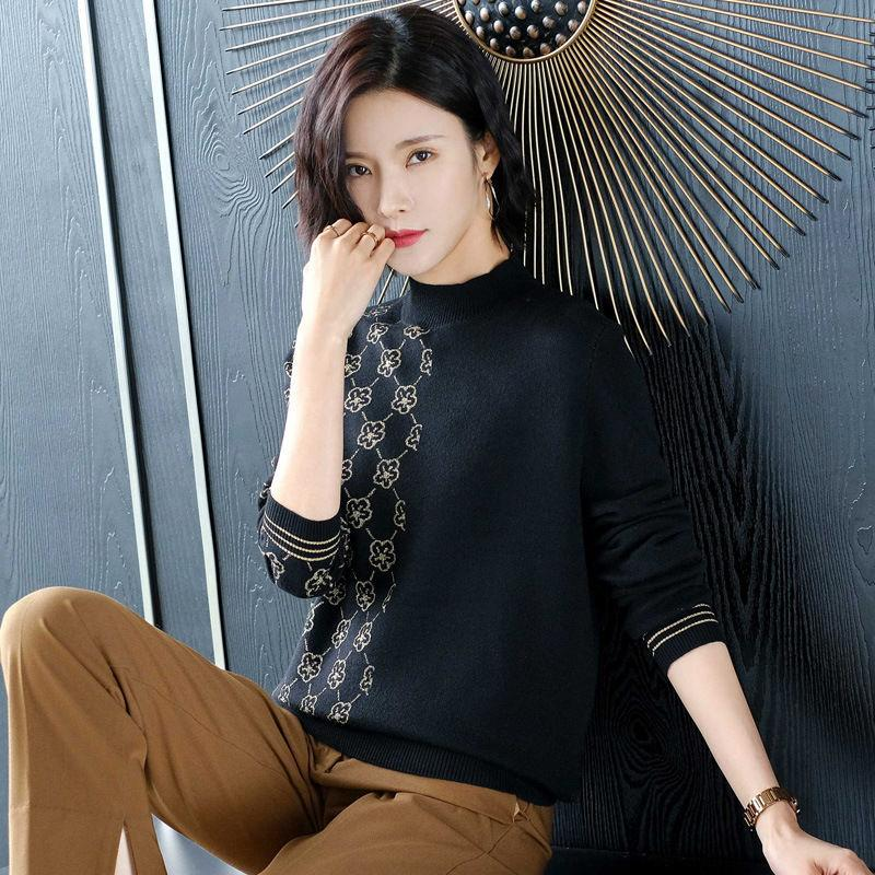 Hengyuanxiang half high collar sweater women's short autumn and winter wear 2020 new foreign style knitting bottoming shirt