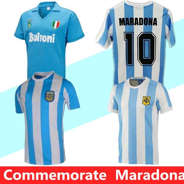 الاحتفال Maradona Retro Napoli Napoles 1987 1981 Maradona 1986 Argentina Soccer Jersey 1978 خمر Boca Juniors كرة القدم قميص كيت