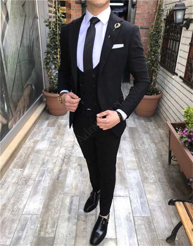 Custom Made Groomsmen Black Groom Tuxedos Notch Lapel Men Suits Wedding/Prom/Dinner Best Man Blazer ( Jacket+Pants+Tie+Vest ) G172