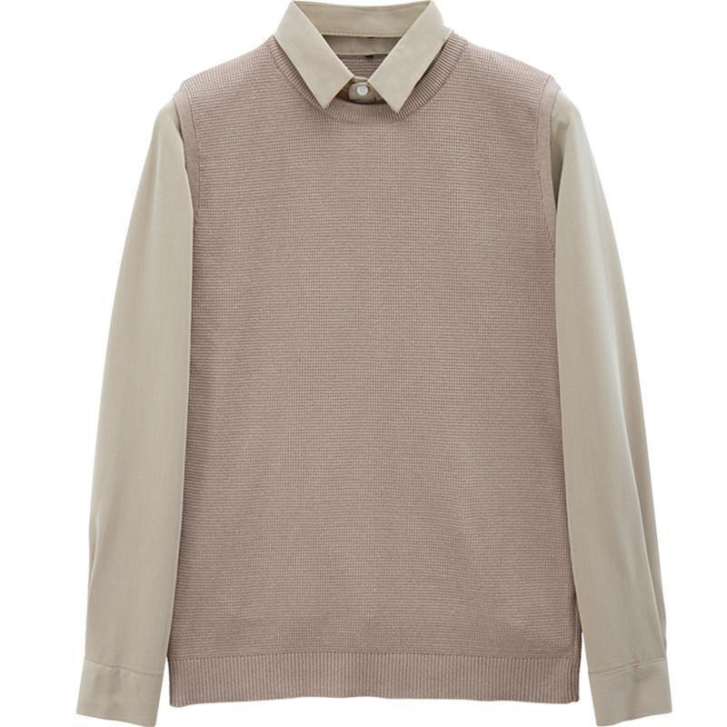 남자 스웨터 셔츠 칼라 셔츠 - 슬리브 풀오버 스웨터 두꺼운 겨울 유지 보수 따뜻한 스플케이드 맨 의류 캐주얼 비즈니스 백업