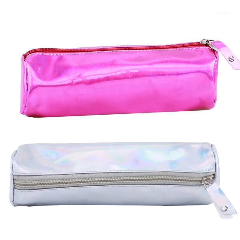 1 unid moda mujer cosmética bolsa láser portátil duraderable caja gran capacidad maquillaje de maquillaje sólido color simple maquillaje bolsa 1