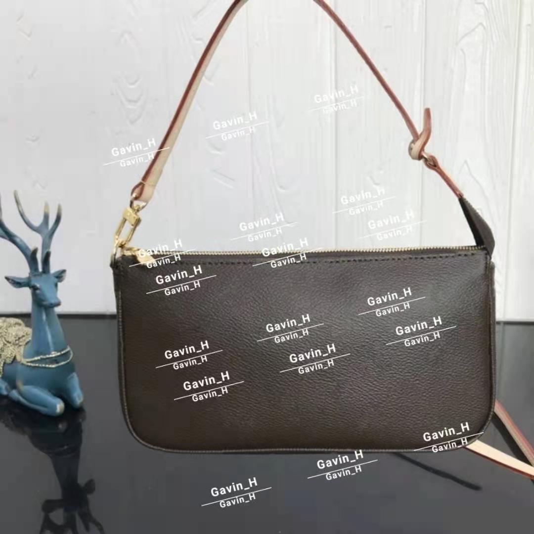 Pochette Accessoires Womens 멋진 클러치 저녁 미니 가방 작은 어깨 핸드백 일일 파우치 갈색 캔버스 가죽 먼지 가방 51980